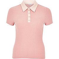 Pink contrast collar polo shirt