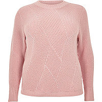 Plus pink stitch jumper
