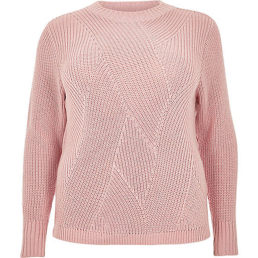 Pull RI Plus en maille rose