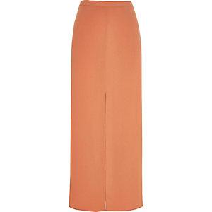 Light orange split front maxi skirt