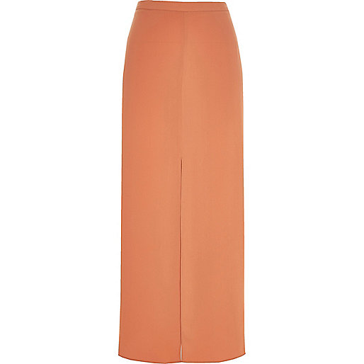 Light orange split front maxi skirt