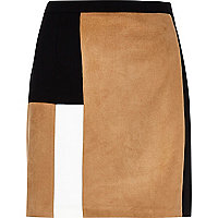 Tan block panel mini skirt