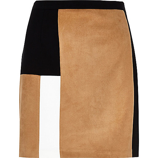 Tan block panel mini skirt