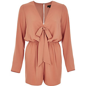 Light orange tied front romper
