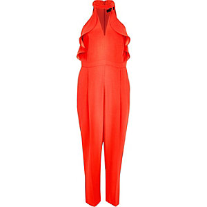 Red frill plunging jumpsuit