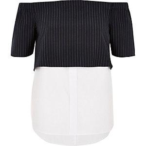 Navy stripe layered bardot shirt