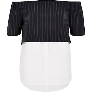 Navy stripe layered bardot shirt