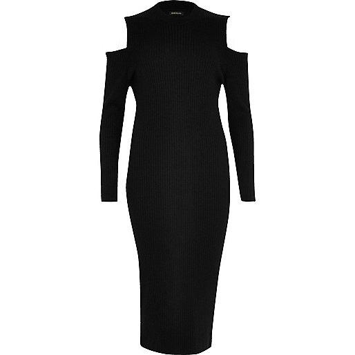 Plus black cold shoulder dress