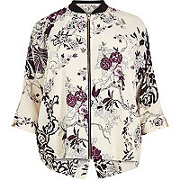 RI Plus cream floral print zip shirt