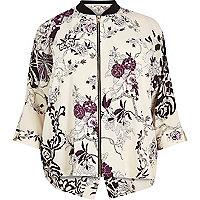 Chemise à fleurs crème RI Plus zippée