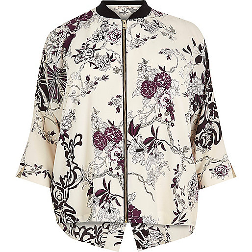 RI Plus cream floral print zip shirt