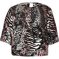 RI Plus pink animal print top