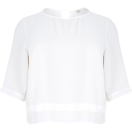 Plus white soft woven top