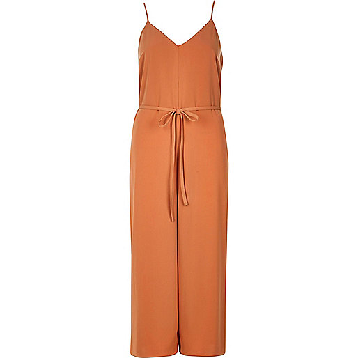 Light orange cami culotte jumpsuit