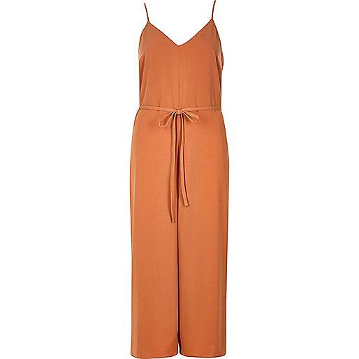 Combinaison jupe-culotte orange clair à fines bretelles