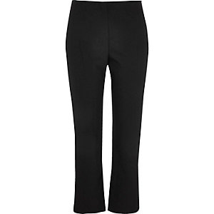 Black flared cropped trousers