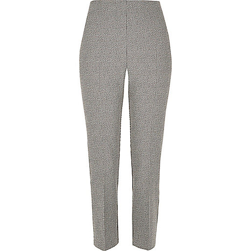 Grey cropped smart trousers