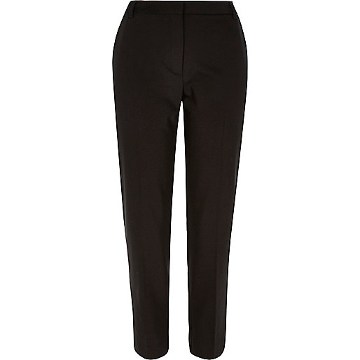 Black slim fit cropped trousers