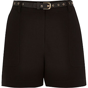 Black high waisted belted shorts