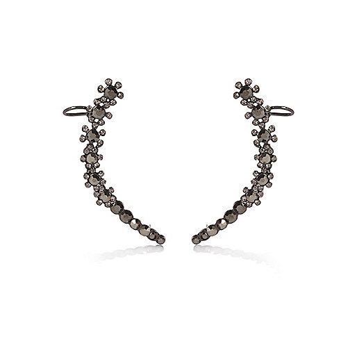 Gunmetal gemstone cuff earrings