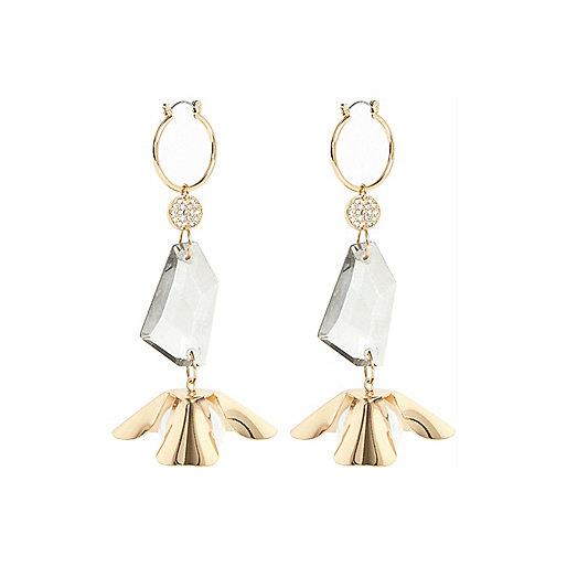 Gold tone flower dangly earrings