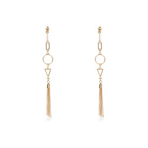 Gold tone geometric shape dangle earrings