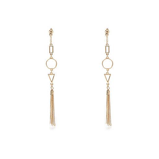 Gold tone geometric shape dangle earrings