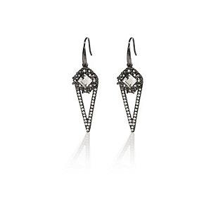 Silver tone spike drop earring