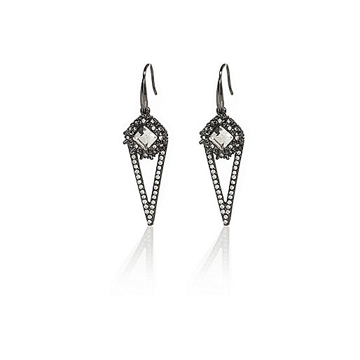 Silver tone spike drop earring