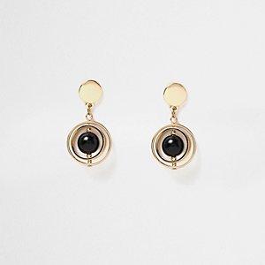 Gold tone orb drop earrings
