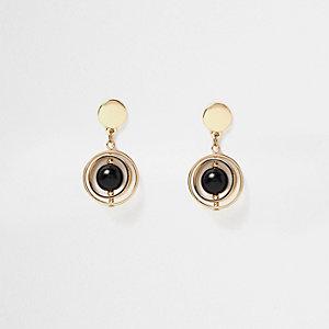 Gold tone orb drop earrings
