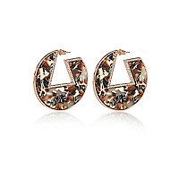 Orange geometric hoop earrings
