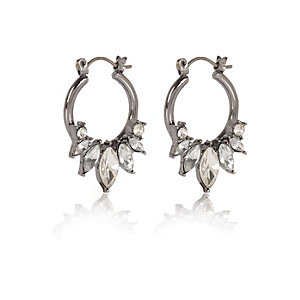Dark grey embellished spike hoop earrings