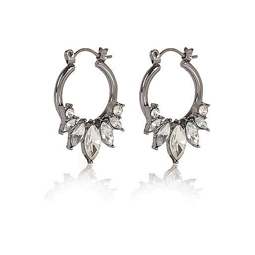Dark grey embellished spike hoop earrings