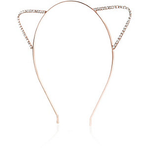 Rose gold tone crystal cat ear headband
