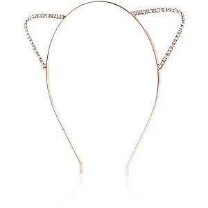 Bandeau avec oreilles de chat en cristal façon or rose