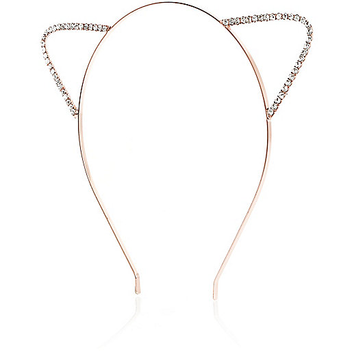 Rose gold tone crystal cat ears headband