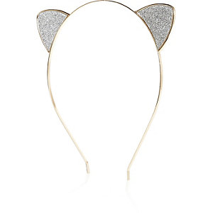 Silver tone glitter cat ears headband