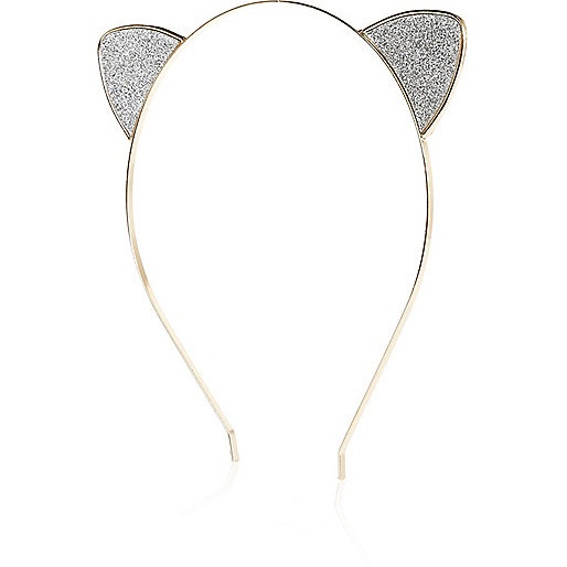 Silver tone glittery cat ear hairband