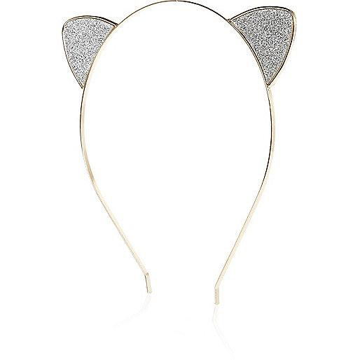 Bandeau argenté avec oreilles de chat pailletées