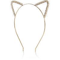 Gold tone crystal chain cat ear headband