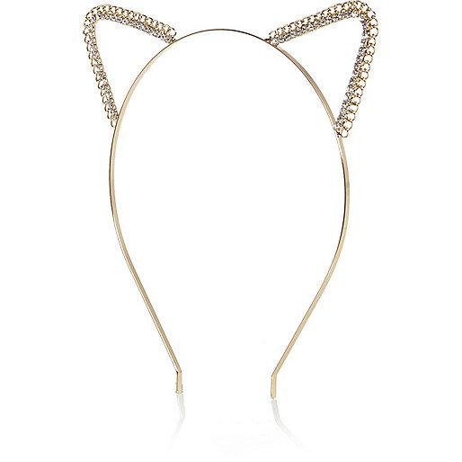 Bandeau avec oreilles de chat en cristal doré