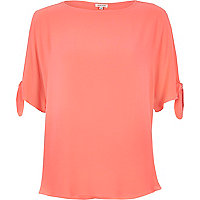 Coral tied sleeves t-shirt