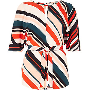 Red stripe belted top