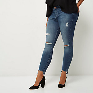 Plus blue ripped Amelie super skinny jeans