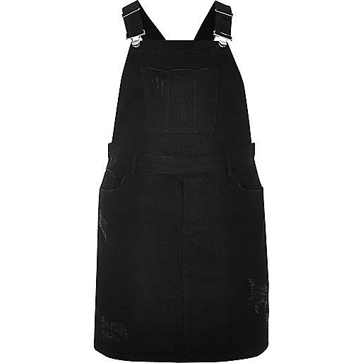 RI Plus black dungaree dress