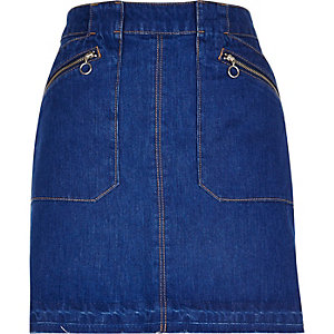 Bright blue zip denim skirt