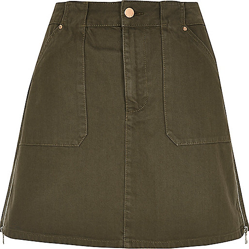Khaki A-line denim skirt