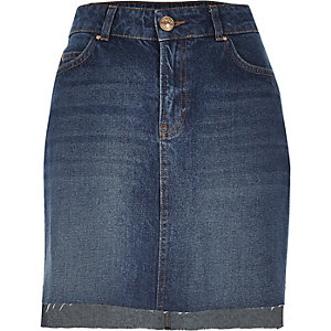 Mid blue wash A-line denim skirt