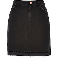 Black A-line denim skirt